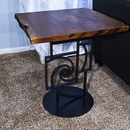 Spiral Out Square End Table