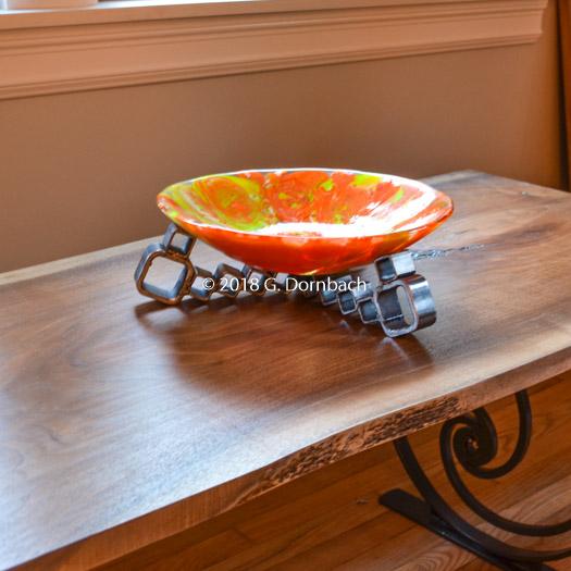 Handmade Dining Table Centerpiece Orange Glass Industrial Dornbach Studios