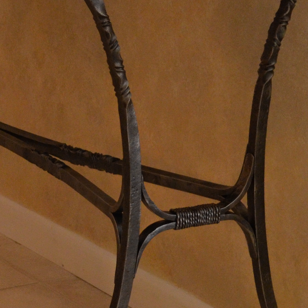 Detail of a forged iron console table