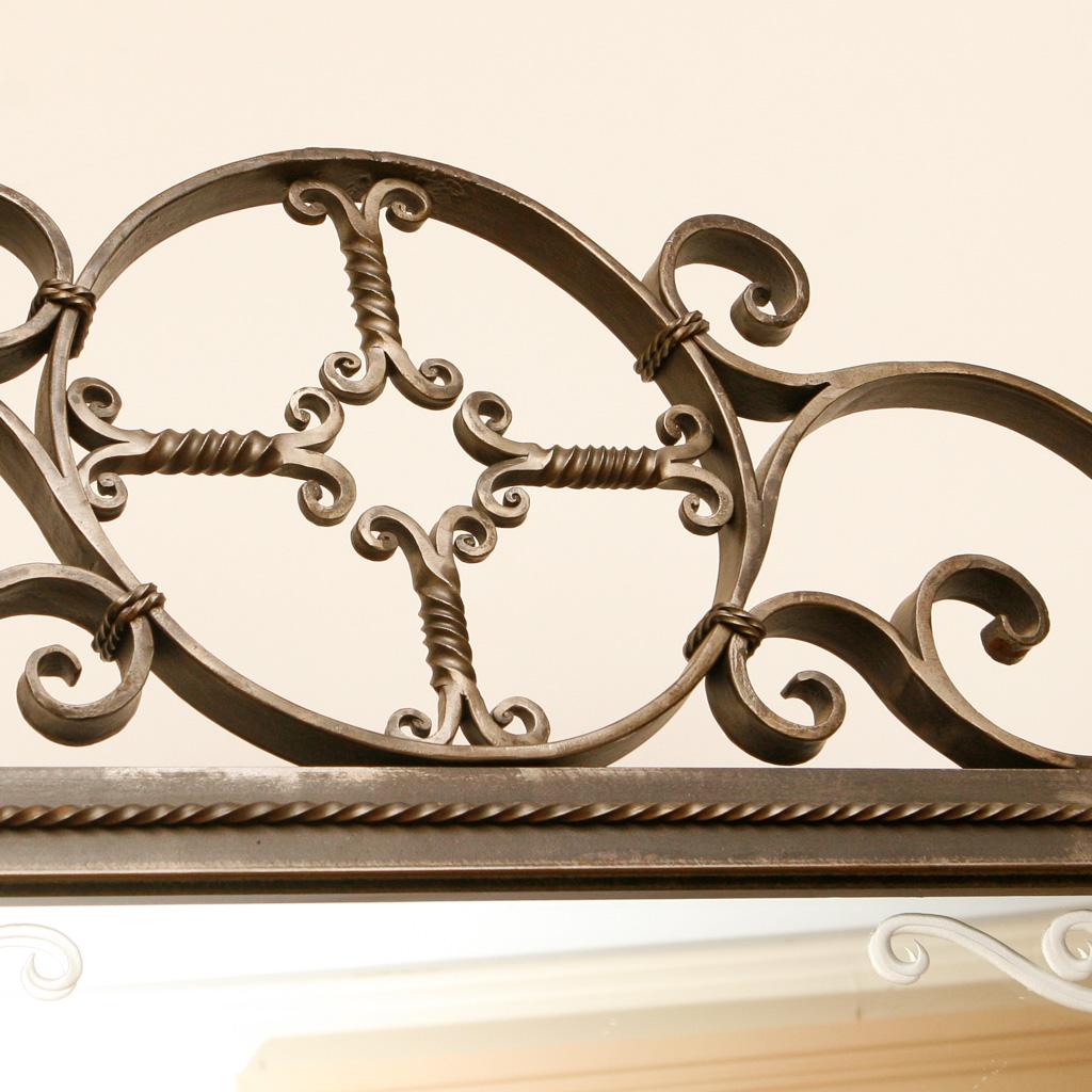 A forged iron motif up-close
